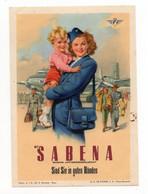 1970s BELGIUM, SABENA, AIRLINE BAGGAGE LABEL, 10 X 7 Cm - Publicidad