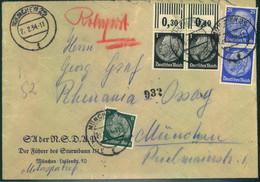 """1934, Orts-Rohrpostbrief MÜNCHEN 25, Absender """"SA Der NSDAP - Führer Des Sturmbanns III L"""" - Lettres"""