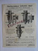 Publicité 2 Pages Carburateur B. VAURS 1907 Voiture Voiturette Canot Automobile Moteur Industriel Motocyclette Tri-car - 1900 – 1949