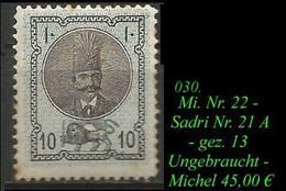 Mi. Nr. 22 - Sadri Nr. 21 A - Gez. 13 - Irán