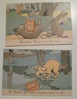 Lot De 2 Cartes Postales Anciennes Publicitaires LOMBART /Illustrateur Benjamin Rabier - Rabier, B.