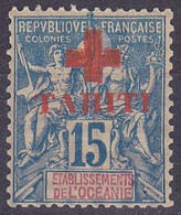 Tahiti N°34 - 1915 Croix Rouge 15C Bleu - Signe Calves - Unused Stamps