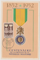 FRANCE 1952 CARTE MAXIMUM 1er Jour Médaille Militaire N°YT 927 Cachet 1er Jour Paris 5.7 1952 Ed. Bouchet-Lakara Relief - 1950-59