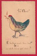 AD658 FANTAISIES OISEAUX HABILLES HUMANISES POULETTE POULE DESSIN  PAILLETTES - Birds