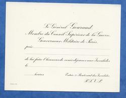 Carte De Visite Militaria, General GOURAUD Membre Du Conseil De La Guerre Carton D' Invitation à Déjeuner Aux Invalides - Visitekaartjes