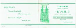 """Carte Visite. Coutances. Hôtel - Restaurant """"Le Parvis"""". - Visiting Cards"""