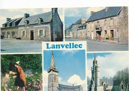 LANVELLEC (22.Côtes D'Armor) Rue Principale, Café Tassel, Station Elf, Coiffe Et Costume, Eglise Et Chapelle St Carré - Lanvellec