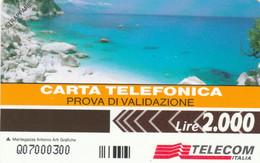 PHONE CARD PROTOTYPE NEW LIRE 2000 PROVA VALIDAZIONE (E77.7.6 - Tests & Services