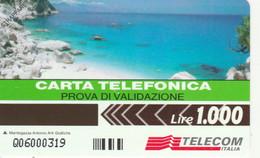 PHONE CARD PROTOTYPE NEW LIRE 1000 PROVA VALIDAZIONE (E77.7.7 - Tests & Services