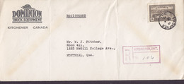 Canada DOMINION TRUCK EQUIPMENT Registered Recommandé KITCHENER 1946 Cover Lettre MONTREAL Quebec (Arr.) - Cartas