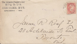Canada THE ONTARIO PEOPLE's SALT Co. John Tolmie KINKARDINE (Ont.) 1894 Cover Lettre TORONTO Ont. (Arr.) 3c. Victoria - Briefe U. Dokumente