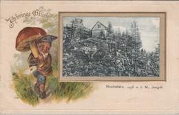Hochstein 1058m Isergebirge - (unused, 1908, Passe-partout With Heinzelmännchen, Gnome) RARE! - Schlesien