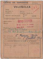 Velosolex   Carte De Garantie Du Garage Suffren  Paris XV ème  Du 5 Juillet 1947 Pour Mr Carbonaro + Photo - Transport