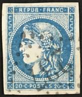 YT 45C LGC 237 Aurillac Cantal (14)(°) Obl 1870-71 Emission Bordeaux 20c Bleu II (R3) Très Léger Clair (70 Euros) – Ciel - 1870 Emisión De Bordeaux