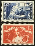 YT 307 308 (*) MH Chomeurs Intellectuel 1935 La Mansarde L'Art Et La Pensée (côte 68 Euros) – Bleu2 - Unused Stamps