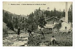 Nozeroy - L'Usine électrique Et Le Moulin Du Saut (animation Et Pêcheur, Cheminée) Circ 1918 - Altri Comuni