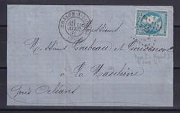 D 123 / BORDEAUX N° 45C OBL SUR DEVANT DE LETTRE - 1870 Emisión De Bordeaux