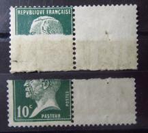 FRANCE - Timbre TYPE PASTEUR - VARIETE ERREUR IMPRESSION Sur RACCORD - 1922-26 Pasteur