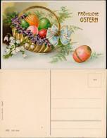 Ansichtskarte  Osterkorb, Feilchen - Goldrand Prägekarte 1909 Goldrand - Easter