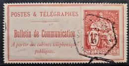 FRANCE 1900-06 - Canceled - YT 29 - Téléphone 1F - Telegraphie Und Telefon