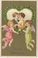 ANGES/ANGELOTS/ QUI TIENNENT UN COEUR A QUATRE TREFLES QUI ENCADRE UN COUPLE D AMOUREUX - Angeli