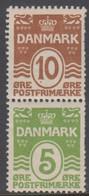 1927 - 1929. Vending Machine Stamps. Wavy Line. 10 øre Brown + 5 øre Green Vertical. ... (MICHEL 182-184) - JF414571 - Unused Stamps