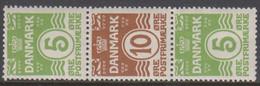 1927 - 1929. Vending Machine Stamps. Wavy Line. 5 øre Green +10 øre Brown + 5 øre Gre... (MICHEL 182-184) - JF414573 - Unused Stamps