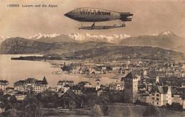 LUZERN SWITZERLAND Und Die ALPEN-LUFTSCHIFF WITH SIGNAGE~PHOTO POSTCARD 51774 - LU Lucerne