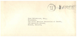 (HH 32) Canada - Cover - From Minister's Of National Defence (to Ottawa) 1948 Free Post - Cartas