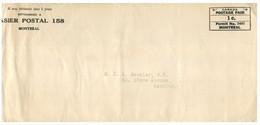 (HH 32) Canada - Postage Paid - Casier Postal 158 Montréal - Cartas