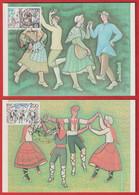 Carte Maximum 1981 - EUROPA *** Danses Traditionnelles - Bourrée Croisée - Sardane *** Yvrt N°2138/9 - PARIS; STRASBOURG - 1980-89