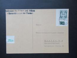 Böhmen Und Mähren 1942 Dienst Nr. 4 Eckrand Mit Plattennummer Bodenamt Für BuM Ministerialdirigent Lueder Reichsforstamt - Briefe U. Dokumente