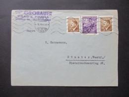 Böhmen Und Mähren 1943 Hitler MiF Firmenstempel Georg Jiri Grobauer Prag X Olmützer Str. 38 Nach Münster Westf. Gesendet - Briefe U. Dokumente