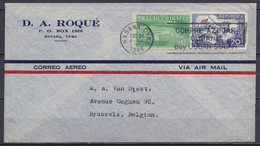 """Cuba - L. Par Avion Affr. 25c Flam. HABANA CUBA /DIC24 1948 Pour BRUSSELS (au Dos: Griffe Fausse Destination """"MISSENT TO - Briefe U. Dokumente"""