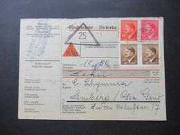 Böhmen Und Mähren 1943 Hitler MiF Nachnahme Karte Kohl Janowitz Nach Lemberg Generalgouvernement Gesendet - Briefe U. Dokumente