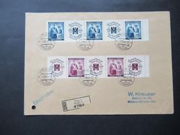 Böhmen Und Mähren 1940 Rotes Kreuz Zusammendrucke Nr. 53 Und 54 Als 4er Streifen Einschreiben Prag 1 Nach Berlin - Briefe U. Dokumente