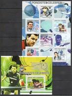 UC362 2009 UNION DES COMORES PONGISTES CELEBRES SPORTS TABLE TENNIS TIMO BOLL WANG HAO 1KB+1BL MNH - Tennis Tavolo