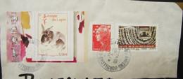 LetDoc. 563. Fragment De Lettre Avec L'année Du Lapin Y&T N°4531 Et Egypte AA517 - Cartas