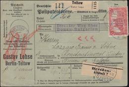 95BII Und 87II Auf Paketkarte Von TELTOW 19.10.16 Nach Konstantinopel Galata - Non Classificati