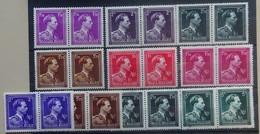 BELGIE  1943    Samenstelling Leopold II   Type 'open Kraag'  Paren   Postfris **      CW 30,00 - 1936-1957 Collar Abierto