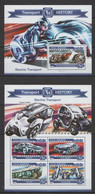 ML205 2015 MALDIVES HISTORY ELECTRIC TRANSPORT CARS MOTORCYCLES KB+BL MNH - Moto
