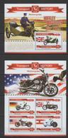 ML210 2015 MALDIVES HISTORY TRANSPORT MOTORCYCLES HARLEY DAVIDSON KB+BL MNH - Moto