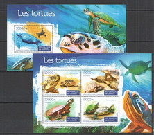 ST132 2015 GUINEE GUINEA FAUNA REPTILES TURTLES LES TORTUES KB+BL MNH - Schildkröten