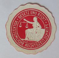 Siegelmarke, Gesetz Und Recht Volkstümliche Rechtszeitschrift, 1900 ♥  (18468) - Publicidad