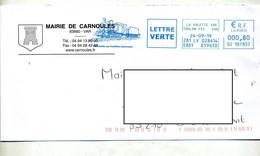 Lettre Flamme Ema La Valette Tradition Ferroviaire Theme Locomotive Entete Mairie - EMA ( Maquina De Huellas A Franquear)
