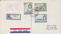Lettre Recommandée Obl. Gough Is. Le 14 DE 55 Sur TP Tristan Da Cuhna N° 15, 19, 20 + Cachet Scientific Survey 1955-1956 - Tristan Da Cunha