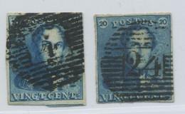 Leopold Ier 20 C. EPAULETTES 2 Ex. Obl Superbe TB - 1849 Epaulettes