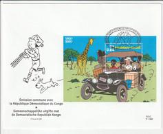 Tintin Au Congo - FDC Feuillet Belge BL 93 + Cachet 1er Jour Mechelen - 31.12.2001- Timbre N° 3049 - 2001-10