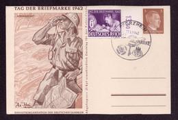 """PFORZHEIM - 11.1.42 - Sonderpostkarte  P308-01 (Afrikakorps) + Mi.811 """"Tag Der Briefmarke"""" - Covers & Documents"""
