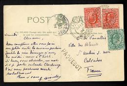 """GB N°106 + 107, 2 Pièces, OBL CAD Perlé """"Carteret Manche"""" (1904) + Griffe """"paquebot"""" Sur Carte Postale De Jersey. Jolie - Correo Marítimo"""